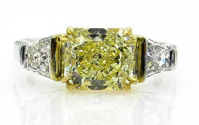 "Estate ""Canary"" GIA 2.83ct Natural Fancy Yellow RADIANT"