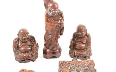 Five Chinese carved hardwood items