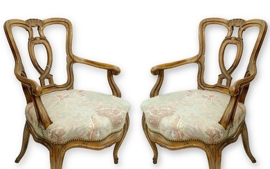 French Carved Arm Chairs