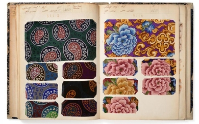 French Fabric Sample Book, circa 1920's Including woven and embroidered...