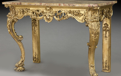 French carved gilt marble top console table