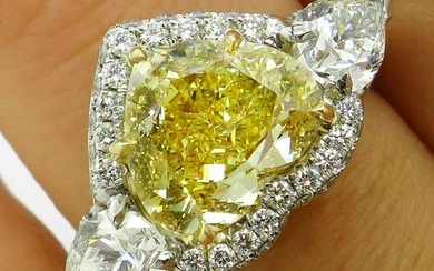 "GIA ""Canary"" 6.16ctw Natural Fancy YELLOW HEART & Pear"