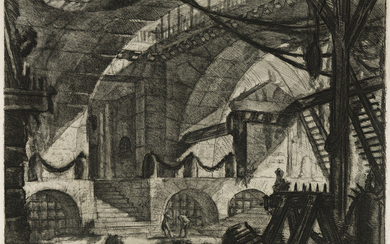 GIOVANNI B PIRANESI Two etchings with engraving fromCarceri