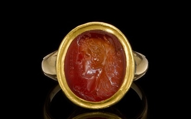 GRECO-ROMAN, 1ST CENTURY B.C./ 1ST CENTURY A.D. OR LATER | INTAGLIO WITH HERAKLES WEARING THE SKIN OF THE NEMEAN LION