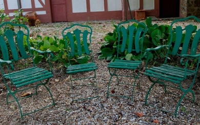Garden furniture: Suite of two armchairs and two chairs in wood and wrought iron painted glass. H: 103 x D: 54 x D: 46 cm and H: 84 x W: 40 x D: 36 cm (Small misses and accidents)