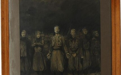"""Georges SCOTT (1873-1942) """"Les zouaves"""", charcoal, ink and watercolour, signed lower right and dated """"1914"""", 59 x 44 cm"""