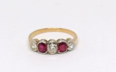 "Gold and Ruby ""Riviere"" Ring"