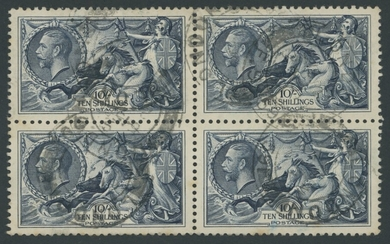 Great Britain King George V 1934 Re-engraved Seahorses 10/- indigo in a block of four, good to...