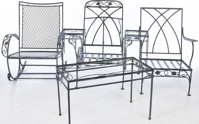 Group of 6 Pieces of Saltorini Wrought Iron Garden Furniture EV1DJ