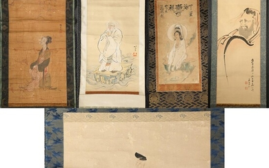 Group of Japanese Hanging Scrolls, Ink on Silk and Gouache on Paper FR3SHLM