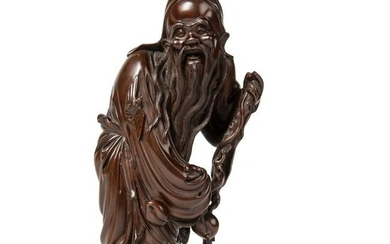 HARDWOOD CARVING OF SHOULAO QING DYNASTY, 19TH CENTURY