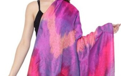 Hand Woven Banarasi Dupatta with Tanchoi Weave Beetroot Purple