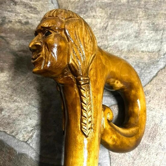 Hand-carved Native American Indian Theme Cane, Walking