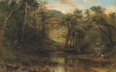 Henry Cleenewerck (1818-1901), A Cuban landscape with drovers and cattle fording a stream