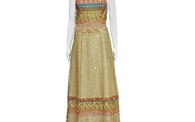 ICONIC OSCAR DE LA RENTA GOLD SEQUIN GOWN as seen on