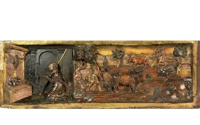 INTERESTING PANEL in relief painted in its polychromy...