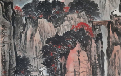 Ink painting - Chinese scroll painting on paper - 《钱松岩-山水》Made after Qian Songyan - China - Late 20th century