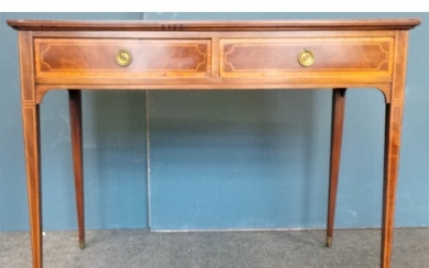 Inlaid Mahogany Side Table/Dressing Table with Drawers