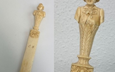 Ivory page turner / paper knife man with hat as pommel - Including certificate - Ivory - Circa 1850