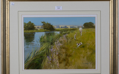 John Haskins - 'Summer on the Ouse', 20th century oil on board, signed recto, titled A.R.