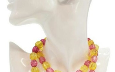 LADIES PINK & YELLOW GLASS TRADE BEADS NECKLACE