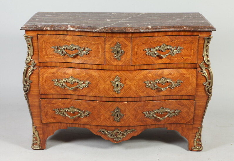 LOUIS XV STYLE FRUITWOOD PARQUETRY MARBLE TOP COMMODE WITH GILT...