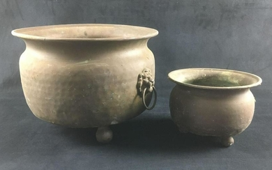 Large Footed Hammered Copper Pot and Small Footed