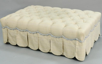 Large rectangle ottoman with custom tufted upholstery