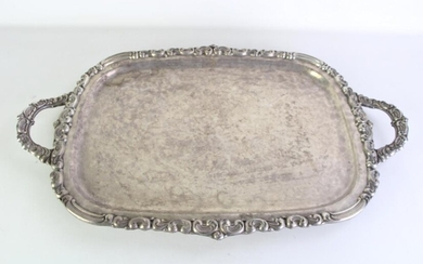 Large silverplated twin handled butler's tray (W73cm)