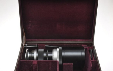 Leitz nice tele lens Leica 400/5 400mm F:5 Telyt attached hood with rare rigid case, exc++++ c.1960