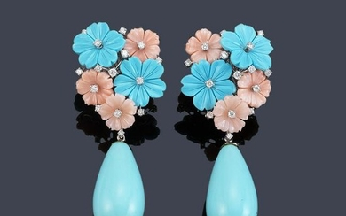 Long earrings with pink, turquoise and brilliant coral