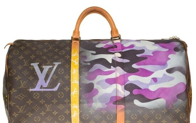 "Louis Vuitton - Keepall 60 en toile Monogramme customisé ""Camouflage"" by PatBo Weekend bag"