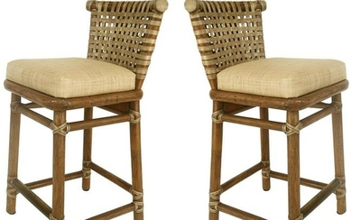 McGuire San Francisco Leather Bound Counter Stools with