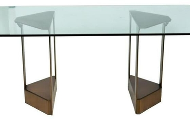 Modern Brushed Metal & Glass Dining Table
