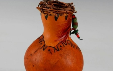 NATIVE AMERICAN POTTERY STYLE DECORATIVE GOURD, SIGNED