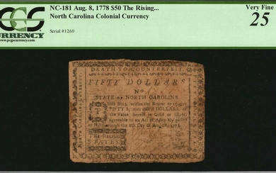 NC-181. North Carolina. August 8, 1778. $50. PCGS Currency Very Fine 25.