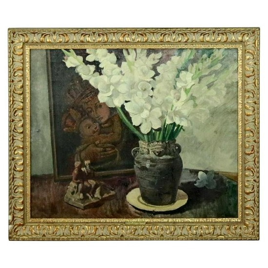 Oil on Canvas Floral Still Life with Gladioli by Edward