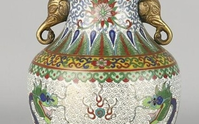 Old Chinese cloisonne vase with dragons and elephant