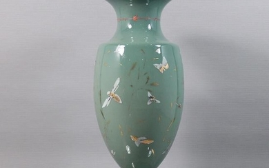 Opaline Glass Vase with Enameled Insects Decorated