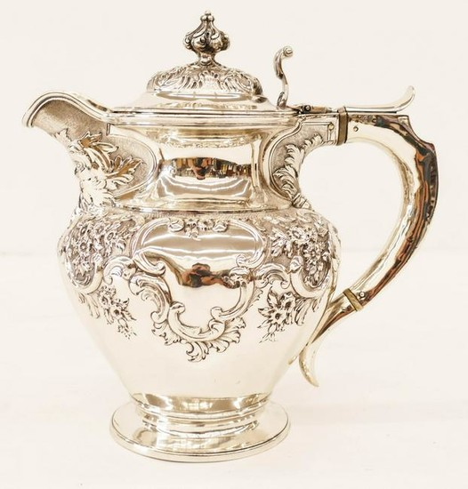 Ornate Victorian Baroque Repousse Silver Tankard by