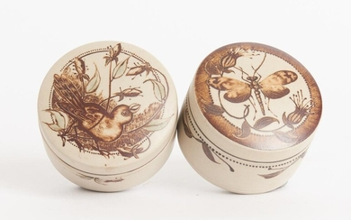 PETER MINKO, TWO MATT GLAZED AND PAINTED STONEWARE COMPRESSED CYLINDRICAL LIDDED JARS, W.7CM, LEONARD JOEL LOCAL DELIVERY SIZE: SMALL