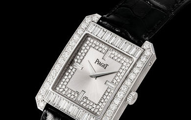 PIAGET. A FINE AND RARE 18K WHITE GOLD AND DIAMOND-SET RECTANGULAR AUTOMATIC WRISTWATCH, SIGNED PIAGET, REF. 26106, CASE NO. 858'674, CIRCA 2010