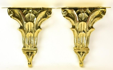 Pair Corinthian Style Heavy Brass Wall Brackets