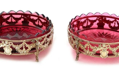 Pair French silver-gilt and glass wine coasters (2pcs)
