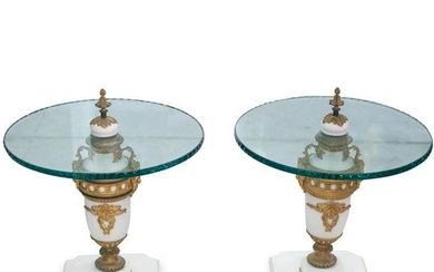 Pair Of Marble, Bronze Urn Tables