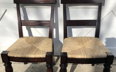 Pair Rush Seated Carved Dining Chairs