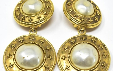 Pair Vintage Chanel Faux Pearl Clip On Earrings