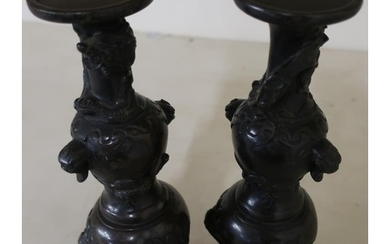 Pair of 19th C Meiji period Chinese bronze stands on circula...