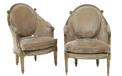 Pair of Baltic Neoclassical Giltwood Armchairs