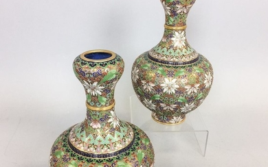 Pair of Chinese Champleve Vases, ht. 10 1/2 in.